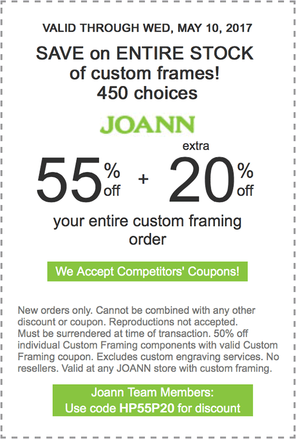 55% off plus extra 20% off your entire Custom Framing Order ...