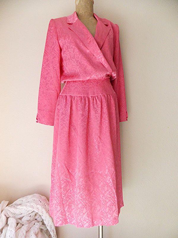 Melissa Lane Dress Size Medium Pink Shiny Satin Vintage 80s Wrap Church Career #MelissaLane #WrapDress #WeartoWork