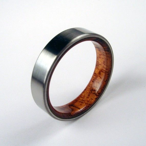 koa wood and titanium ring koa wood interior unique mens ringsunique mens wedding