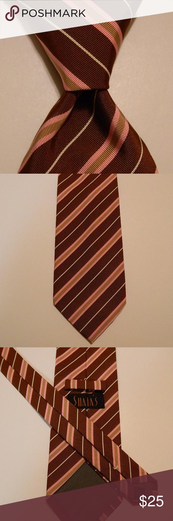 PAUL SMITH Men/'s 100/% Silk Necktie ITALY Luxury Designer STRIPED Red//Pink EUC
