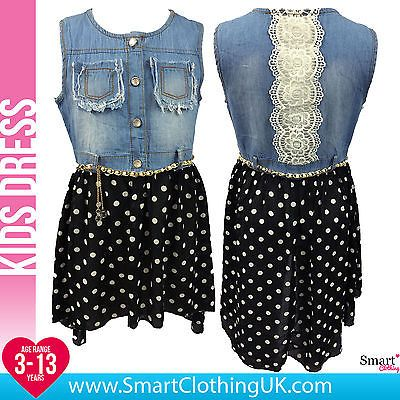 b6f2f8ce5 NEW Girls Summer Denim Polka Dot Lace Dress Black Age 3 4 5 6 7 8 9 10 11  12 13 in Clothes