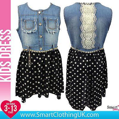 b965b5a7bf26 NEW Girls Summer Denim Polka Dot Lace Dress Black Age 3 4 5 6 7 8 9 10 11  12 13 in Clothes