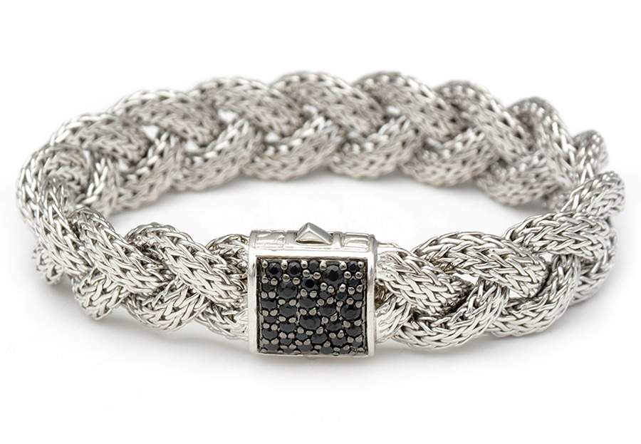 A Unique Black Sapphire Sterling Silver Braided Bracelet Available On Our Site In Additional Colors Estate Jewelry John Hardy Jewelry Silver Braided Bracelet