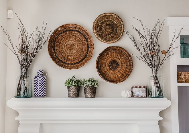 Farmhouse Wall Decor Vintage Basket Above The Fireplace Mantel The Baskets Are From Thrift Stores Fa Above Fireplace Decor Basket Wall Decor Trending Decor