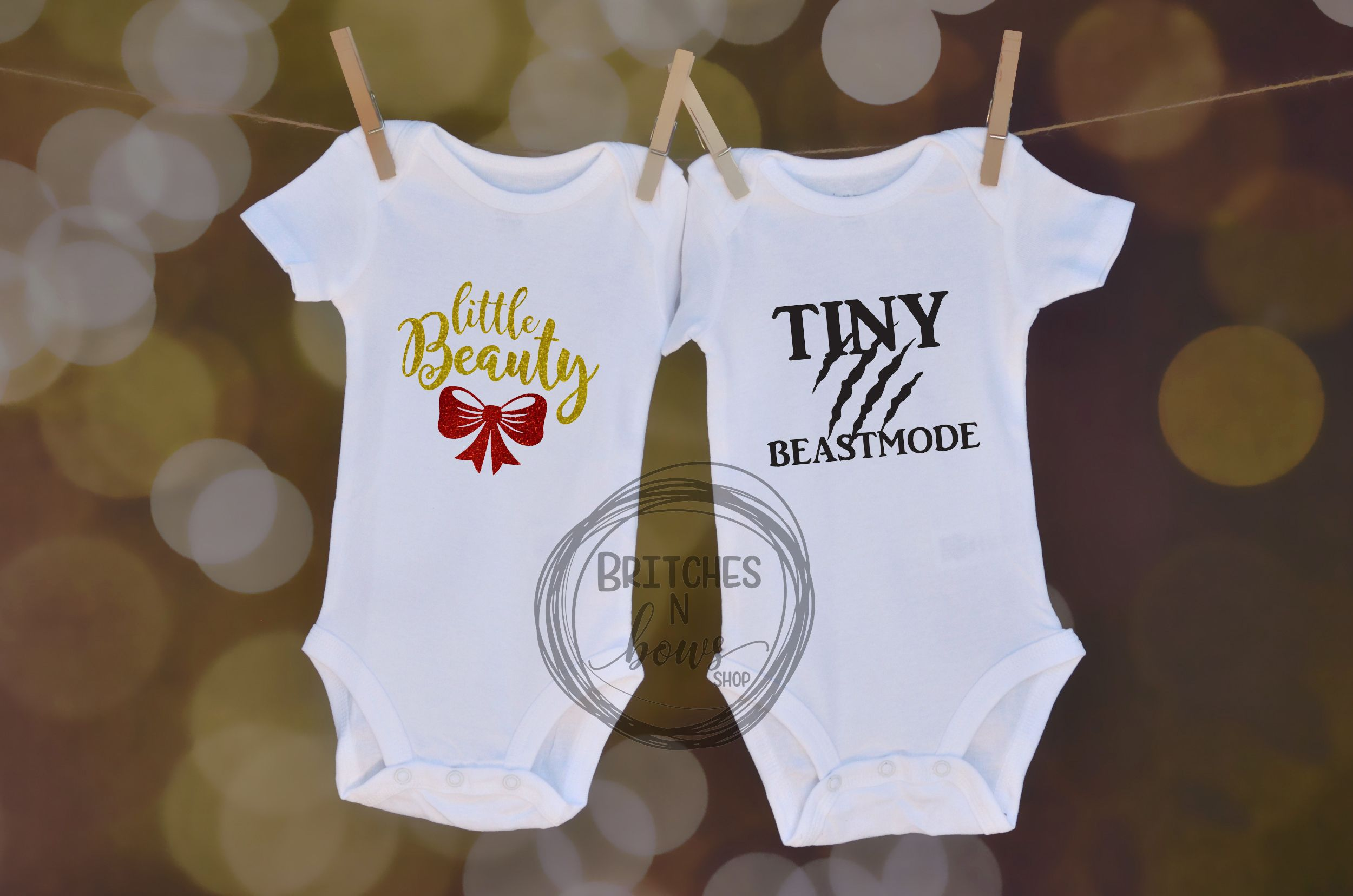 Little Beauty & Tiny BeastMode Set // Baby Apparel, Toddler Shirts, Trendy Baby Clothes, Cute Baby Clothes, Twins, Siblings  www.BritchesNBowsShop.com  www.BritchesNBowsShop.etsy.com
