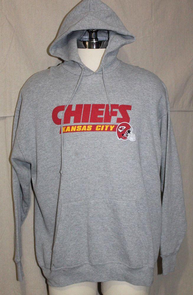 Kansas City Chiefs Hoodie Sweatshirt KC NFL Football XL Hooded Pullover Gray Red #NFL #kansascitychiefs