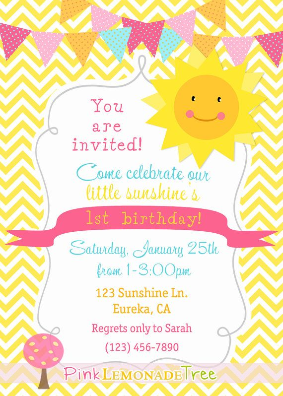 You are my sunshine birthday party invitation yellow chevron you are my sunshine birthday party invitation yellow chevron customized invite stopboris Gallery