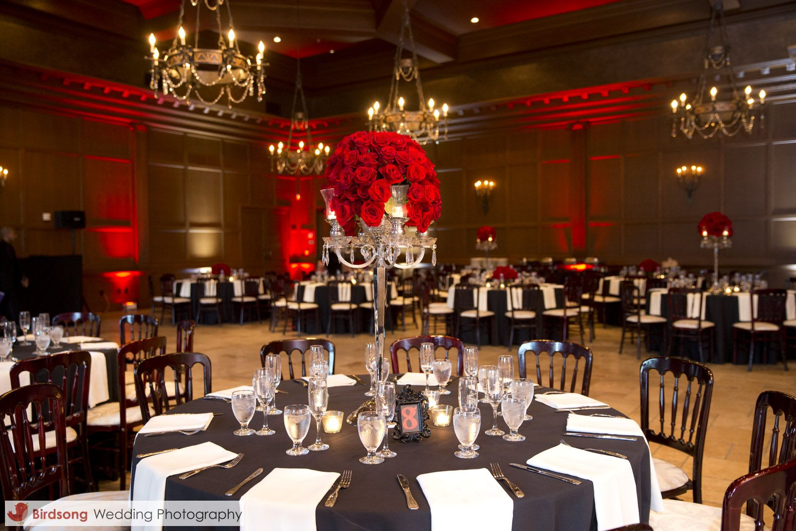 Crystal Candelabra Centerpiece With Red Roses And Candles