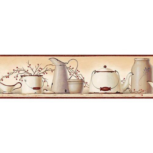 Burgundy Country Enamelware Wallpaper Border Kitchen