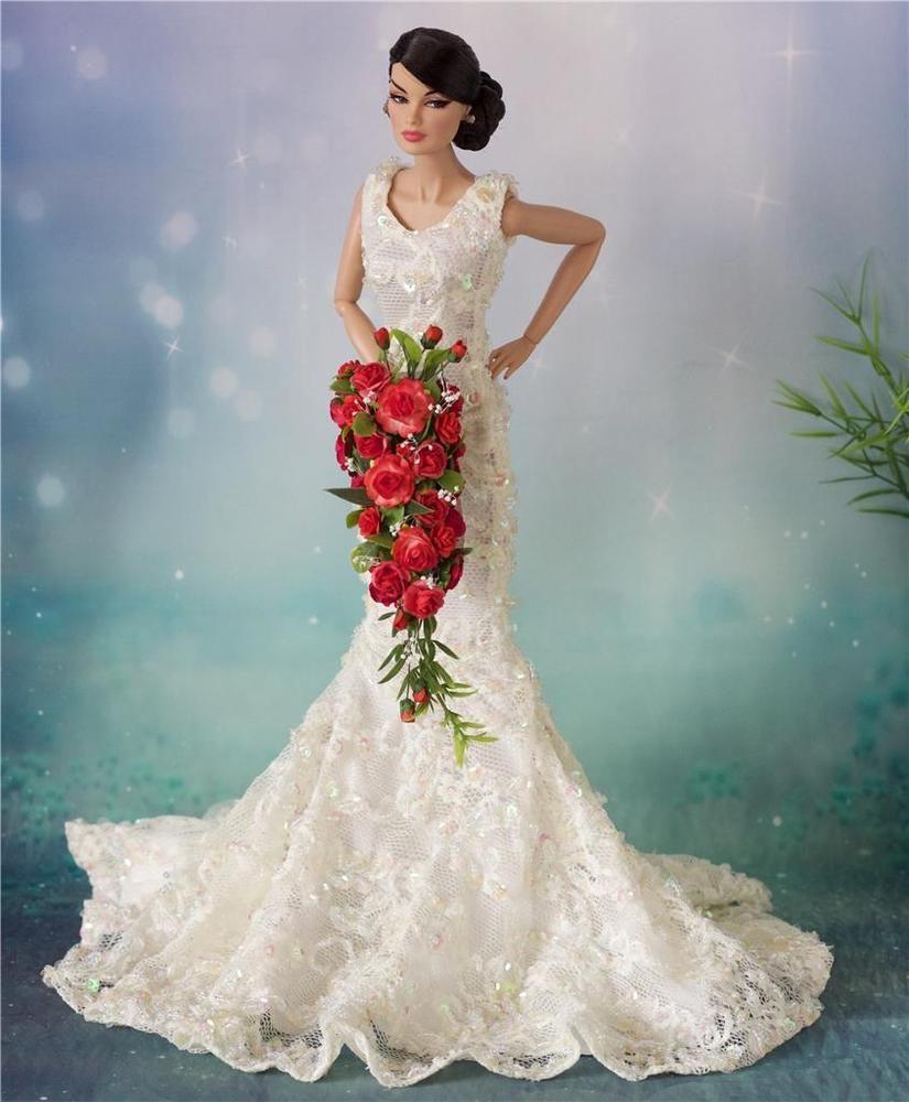 Barbie,Tonner,Revlon Fashion Royalty wedding Red long Bouquet ...