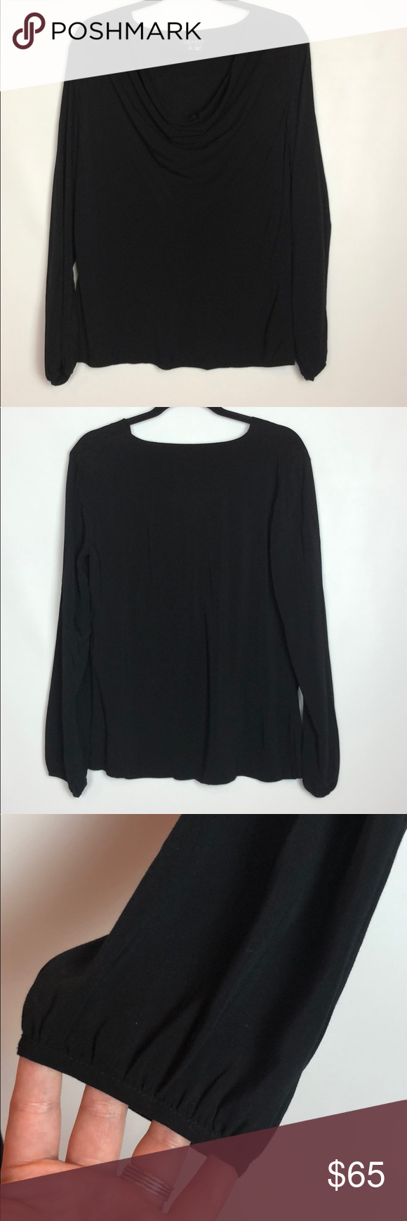 "1a115e4fdd59d3 Theory Black Delvinia Rove Cowl Neck Top Theory Black Delvinia Rove Cowl  Neck Top Size small 100% rayon Good condition Pit to pit 19"" Length 25"" Theory  Tops ..."
