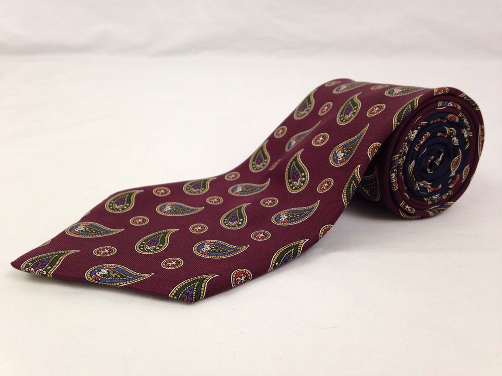 TOMMY HILFIGER 57L Mens Neck Tie Maroon Blue Paisley Classic 100% Silk USA NWT #TommyHilfiger #NeckTies #Ties