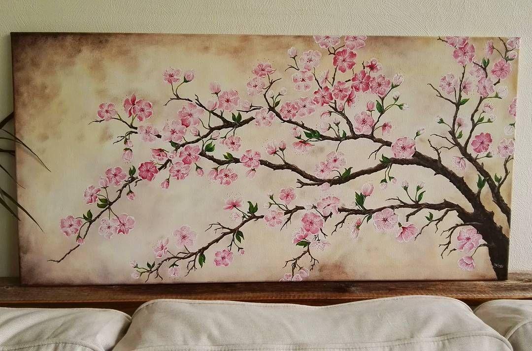Kevät tuli sisälle!  #cherryblossom #acrylicpainting #flowerspainting #spring #flowers #pink #handmadeisbetter