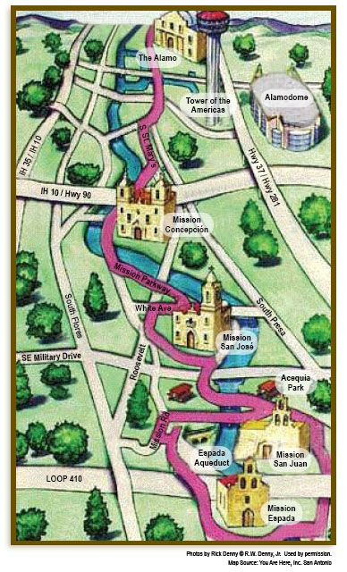 San Antonio Missions Map Map of Missions | San Antonio | ATA 54th Annual Conference | San  San Antonio Missions Map