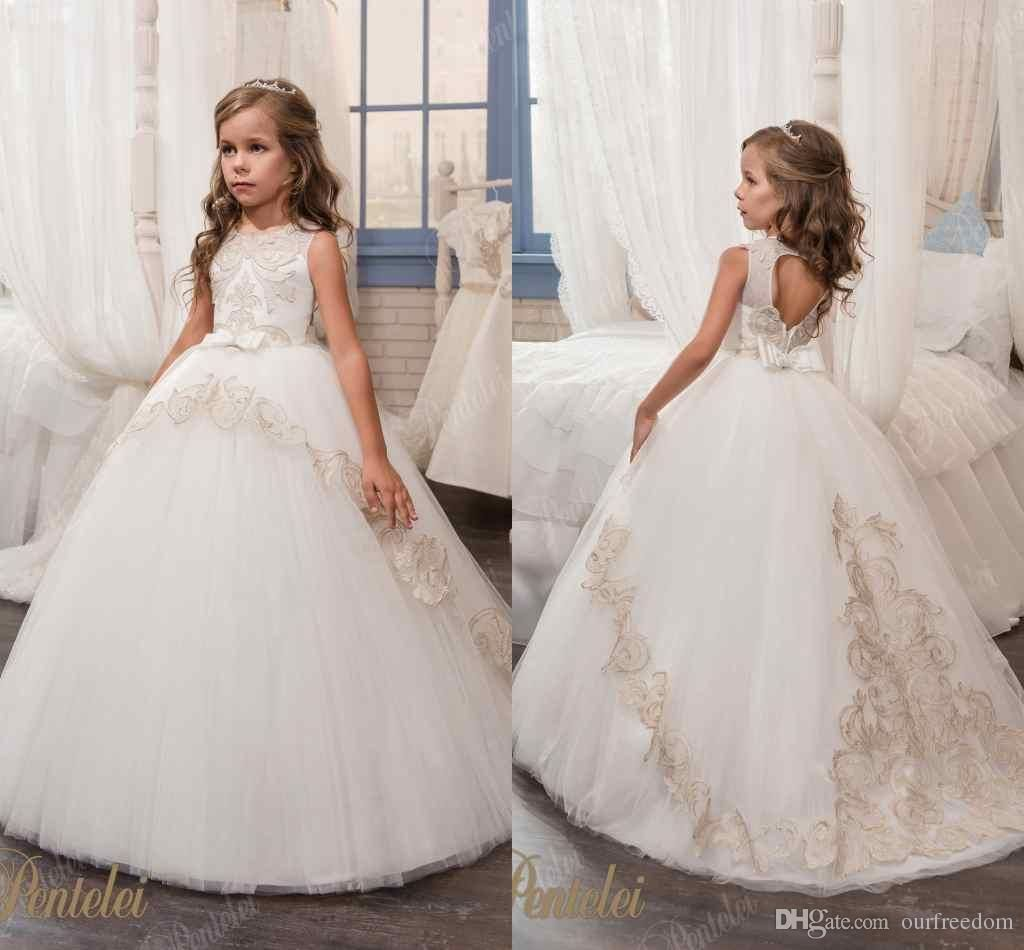 0be1252f149 2017 New White Ball Gown Flower Girls Dresses Crew Neck Bow Hollow Back  Kids Party Gown