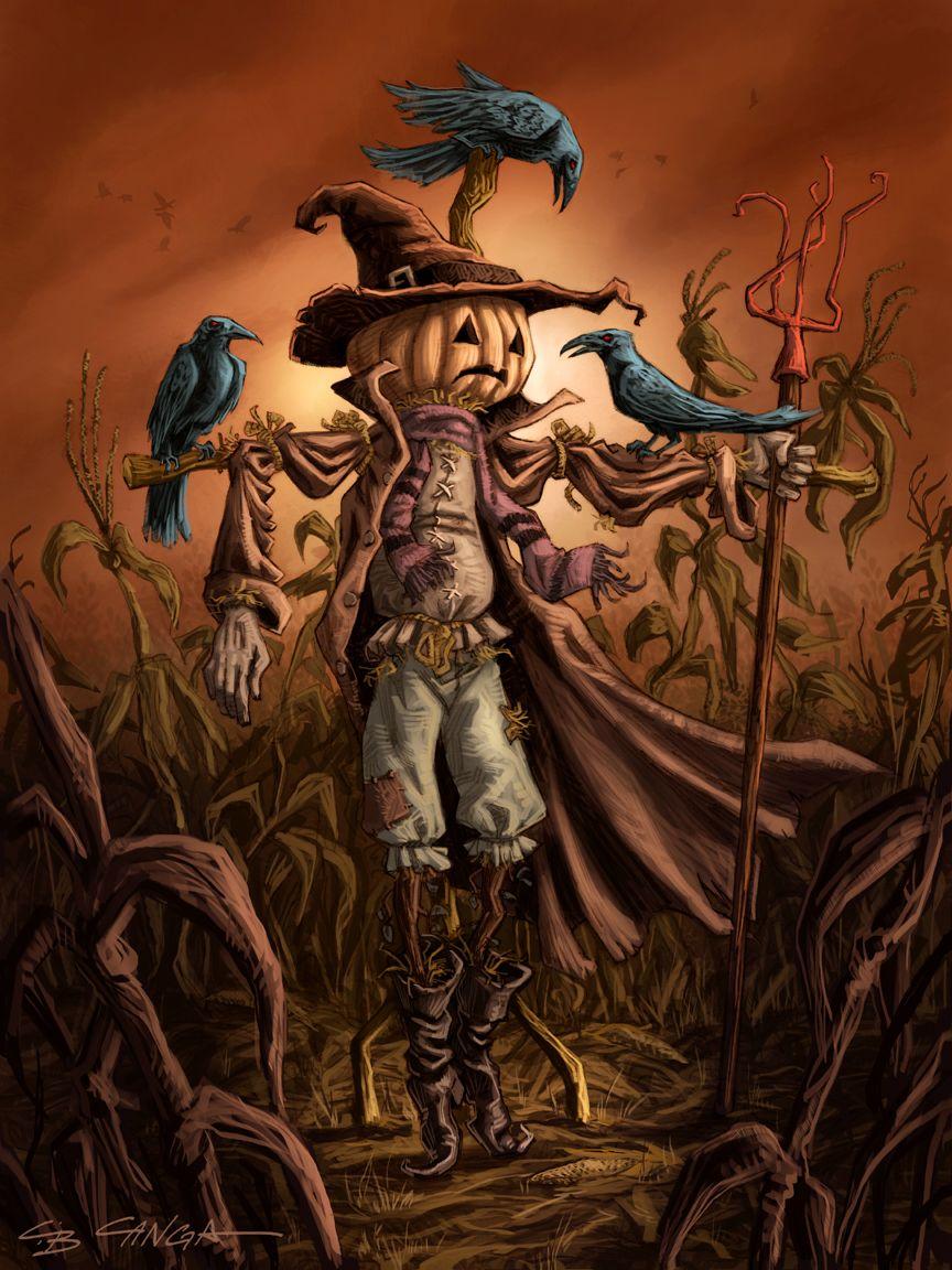 scarecrow, halloween, illustration