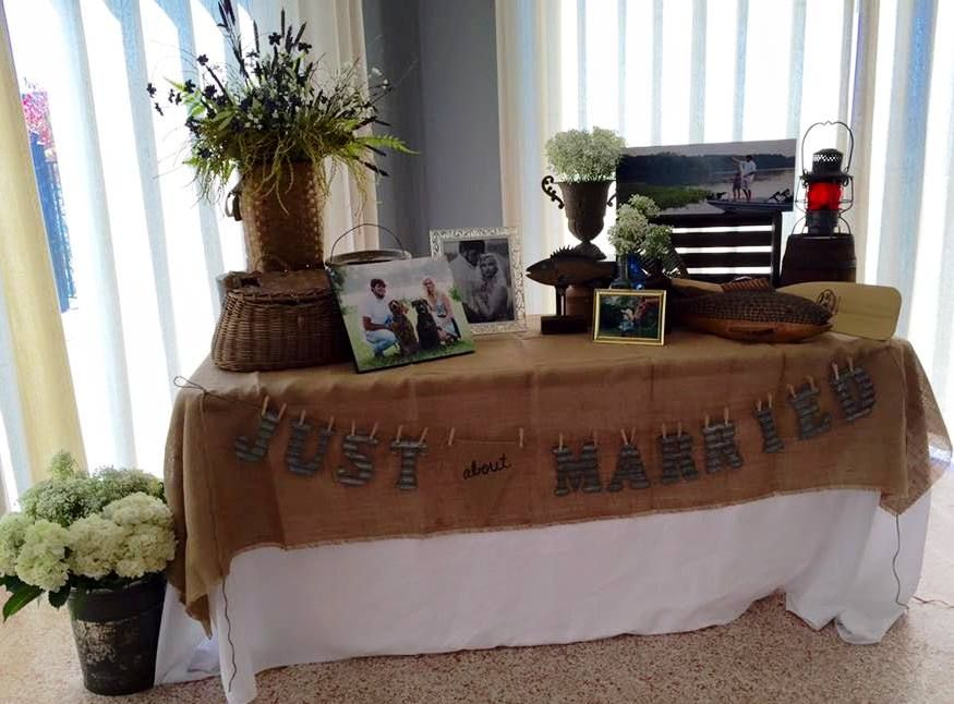 Caribbean Rehearsal Dinner Theme: Fishing Lake Theme Groom's Rehearsal Dinner Photo Table