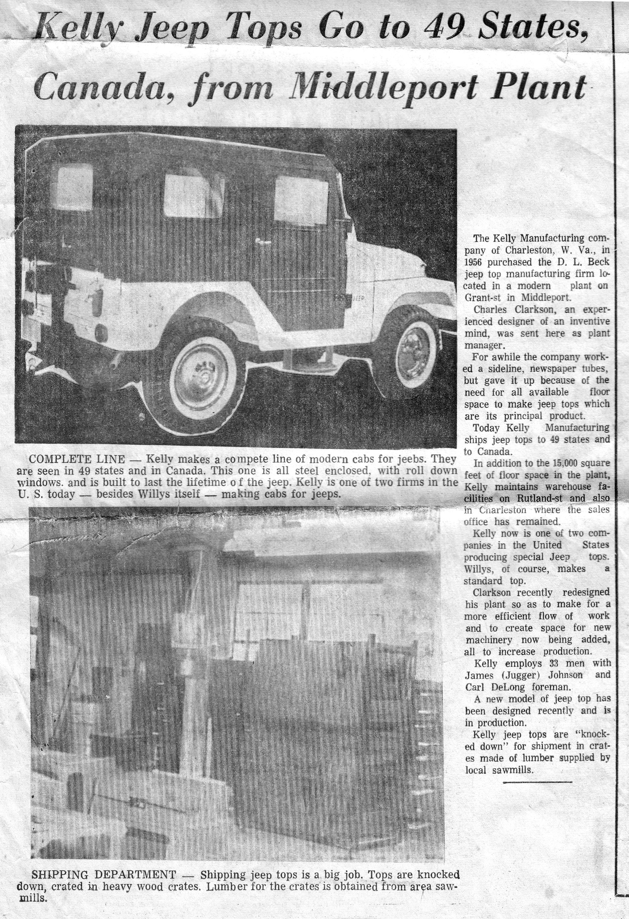Kelly Jeep Cabs Article On The Kelly Manufacturing Company Of Middleport Ohio Makers Of The All Steel Kelly Jeep Top Taken From Middleport Jeep Tops Jeep