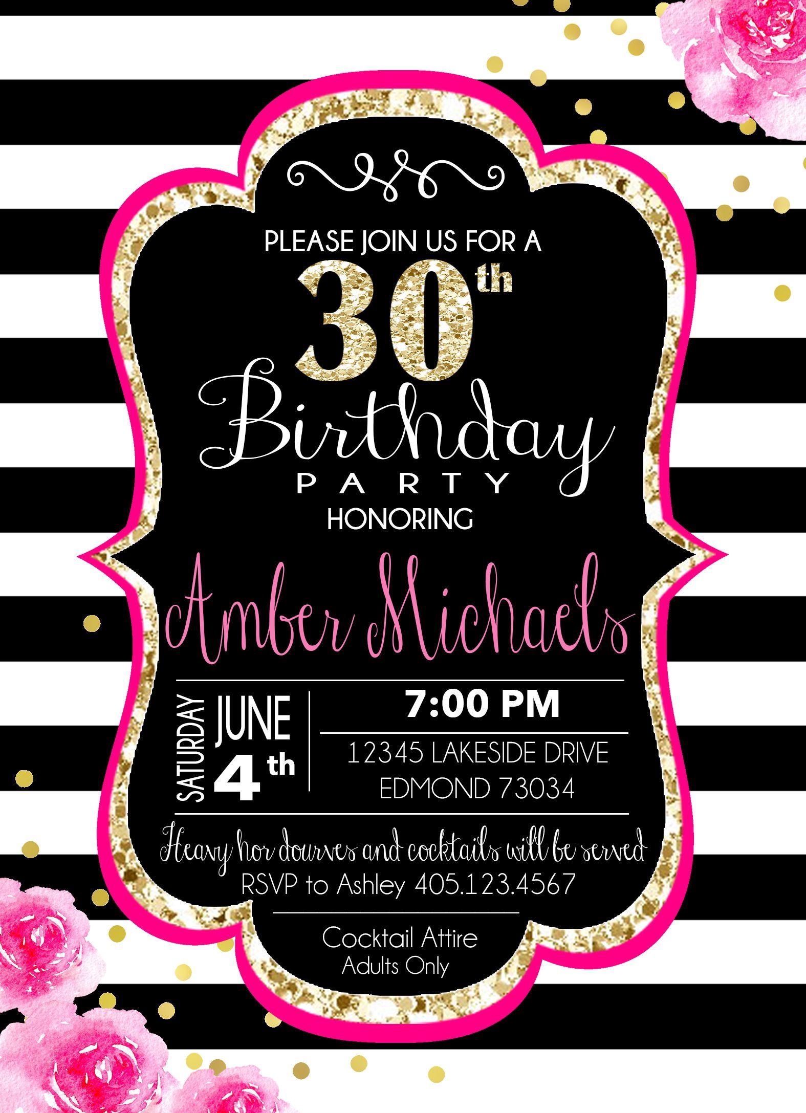 kate spade inspired birthday invitation