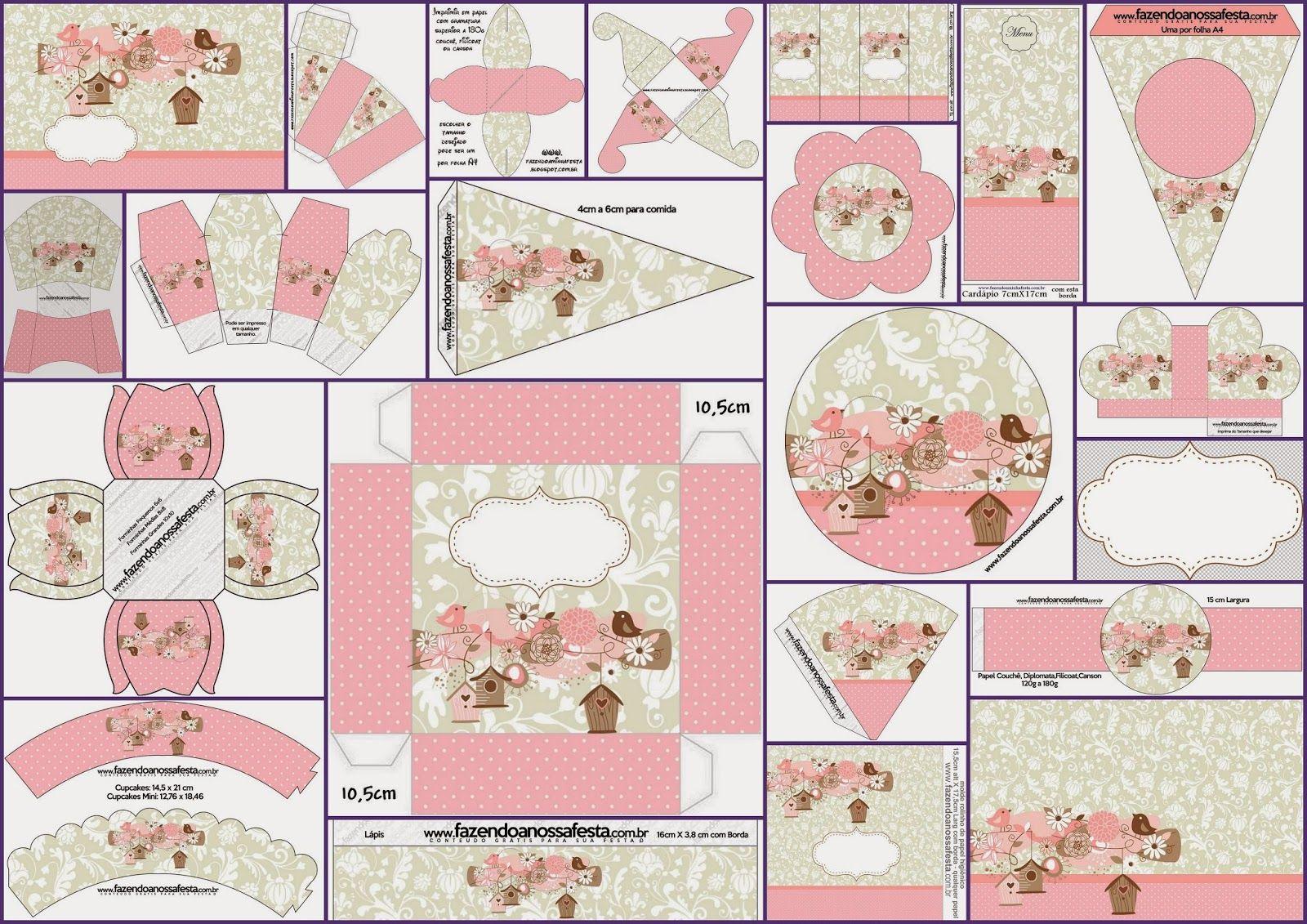 p jaros y jaulas completo kit para fiestas para imprimir gratis baby shower pinterest. Black Bedroom Furniture Sets. Home Design Ideas