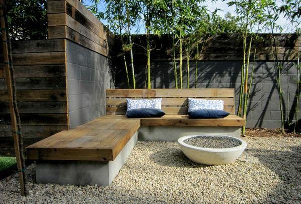 Betonzaun Eine Elegante Innenhofgestaltung Erreichen Beton Gartenbank Betonzaun Garten