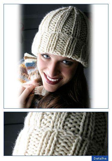 ec553a1593 Receita de Gorro em tricô | Tricô e crochê | Gorros de trico, Gorro ...
