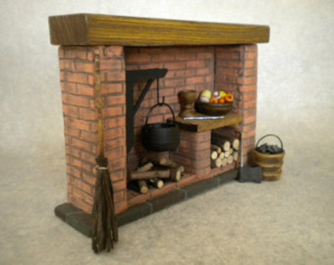 Puppenhaus Miniatur Küche Kamin Colonial, Tudor, Mittelalter ...