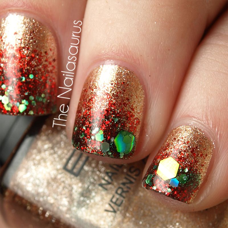 12 days of christmas nails day 11 festive glitter. Black Bedroom Furniture Sets. Home Design Ideas