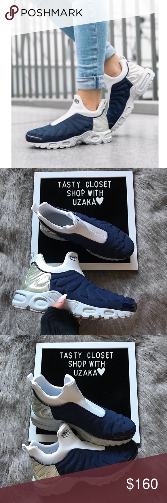 1c1415865f Nike air max plus slip sp sneakers Nike air max plus slip sp sneakers New  with box, without lid Midnight navy/metallic silver Nike Shoes Sneakers