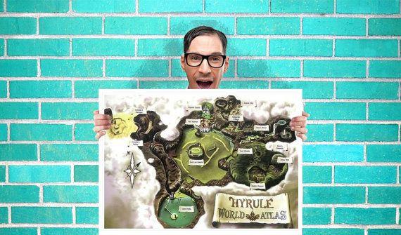 The legend of zelda hyrule world atlas ocarina of time game map the legend of zelda hyrule world atlas ocarina of time game map art wall art gumiabroncs Images