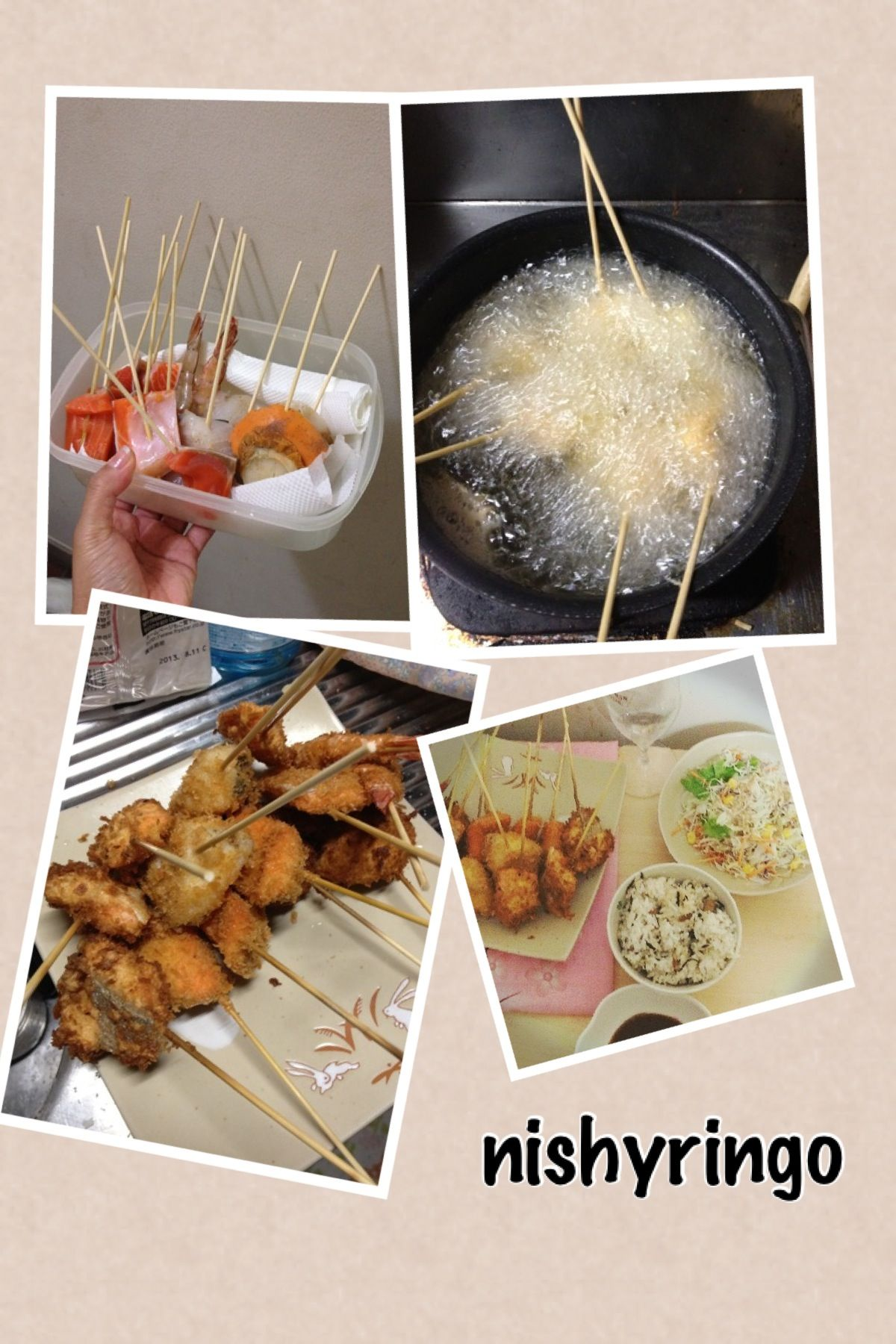 """SEAFOOD ON STICK """"kushiage"""" (串揚げ)   What u need: -Seafood of ur choice -BBQ sticks -Salt and Pepper -1 cup Flour -1/2 cup of water -cooking oil -Bread crumbs How to: -Cut the seafood into bite size -Dash Salt and Pepper  -Put it on BBQ stick -Make the batter, Mix the water and flour (must be thick but flowy) put salt and pepper -Dip the Seafood into the batter -Roll it to the Breadcrumbs -Heat the oil -Deep fry! Viola!"""
