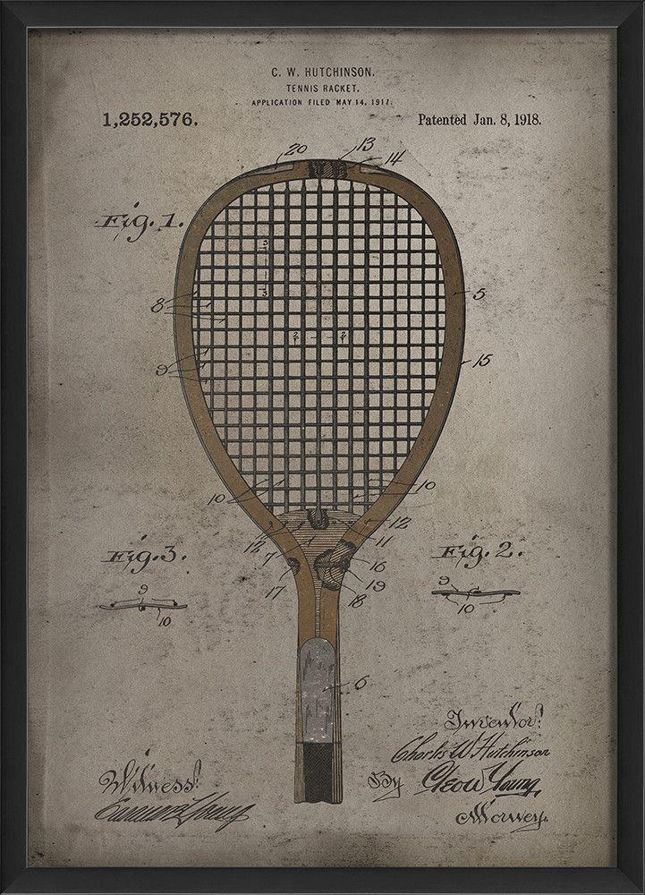 Hutchinson Tennis Racket Framed Graphic Art Graphic Art Tennis Art Graphic