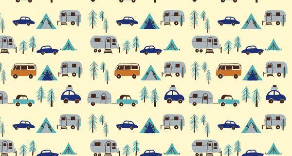 Watercolor Caravans Watercolor Summer Camping Fabric Printed by Spoonflower BTY