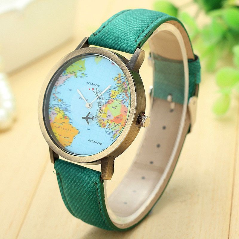 New coming women global travel by plane map fabric stainless steel new coming women global travel by plane map fabric stainless steel watch denim gumiabroncs Images