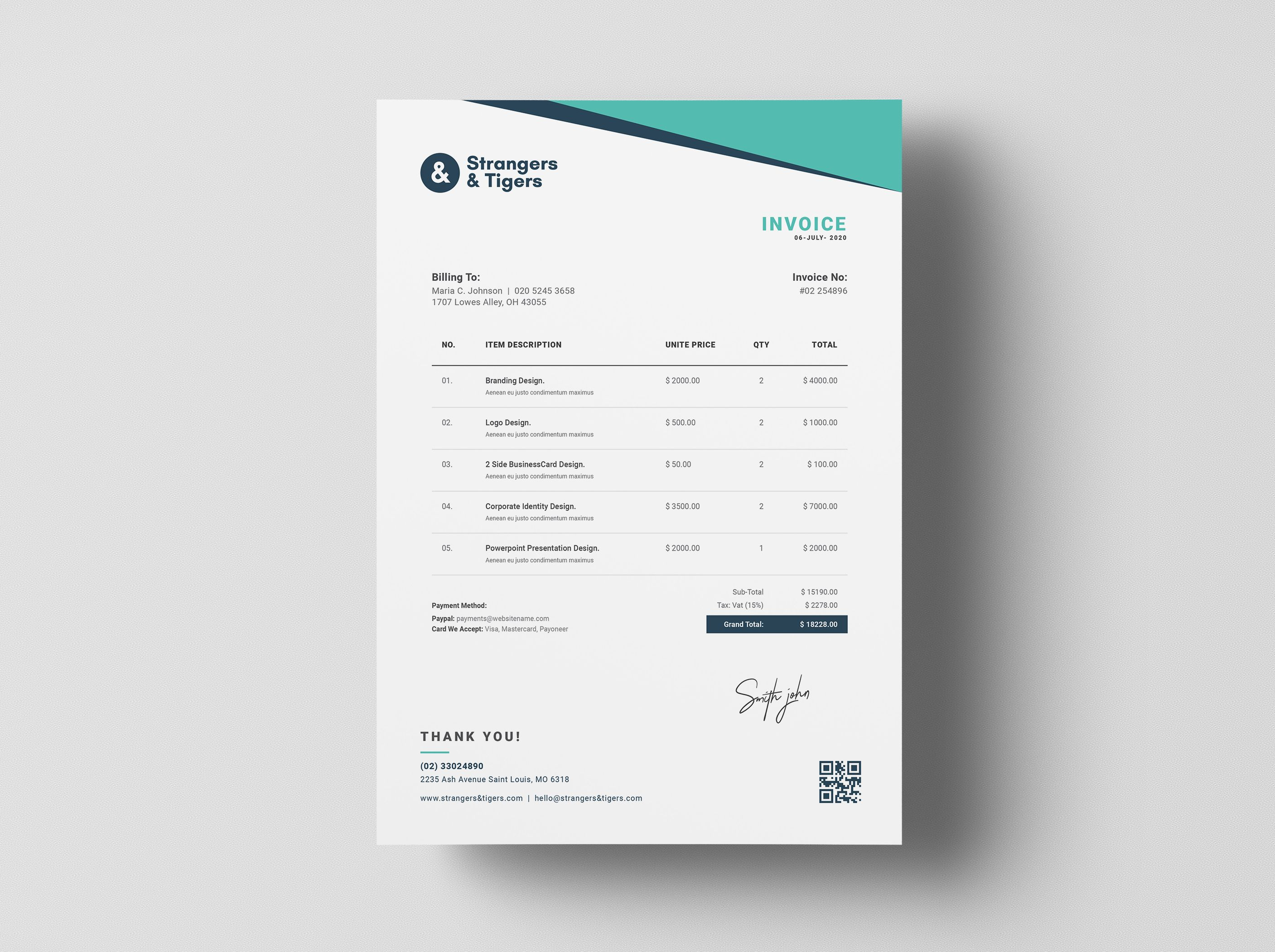 Exceedcreatives I Will Design Auto Calculated Invoice In Excel For 15 On Fiverr Com Invoice Design Invoice Layout Business Card Design