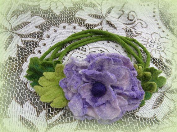 Felted fariy crown hair wreath with nuno felted door LivelySheep