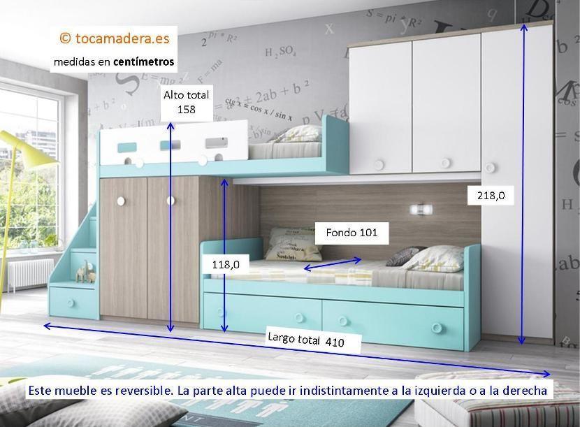 Cama tren con escalera y armarios en 2019 dormitorios - Habitaciones infantiles tren ...