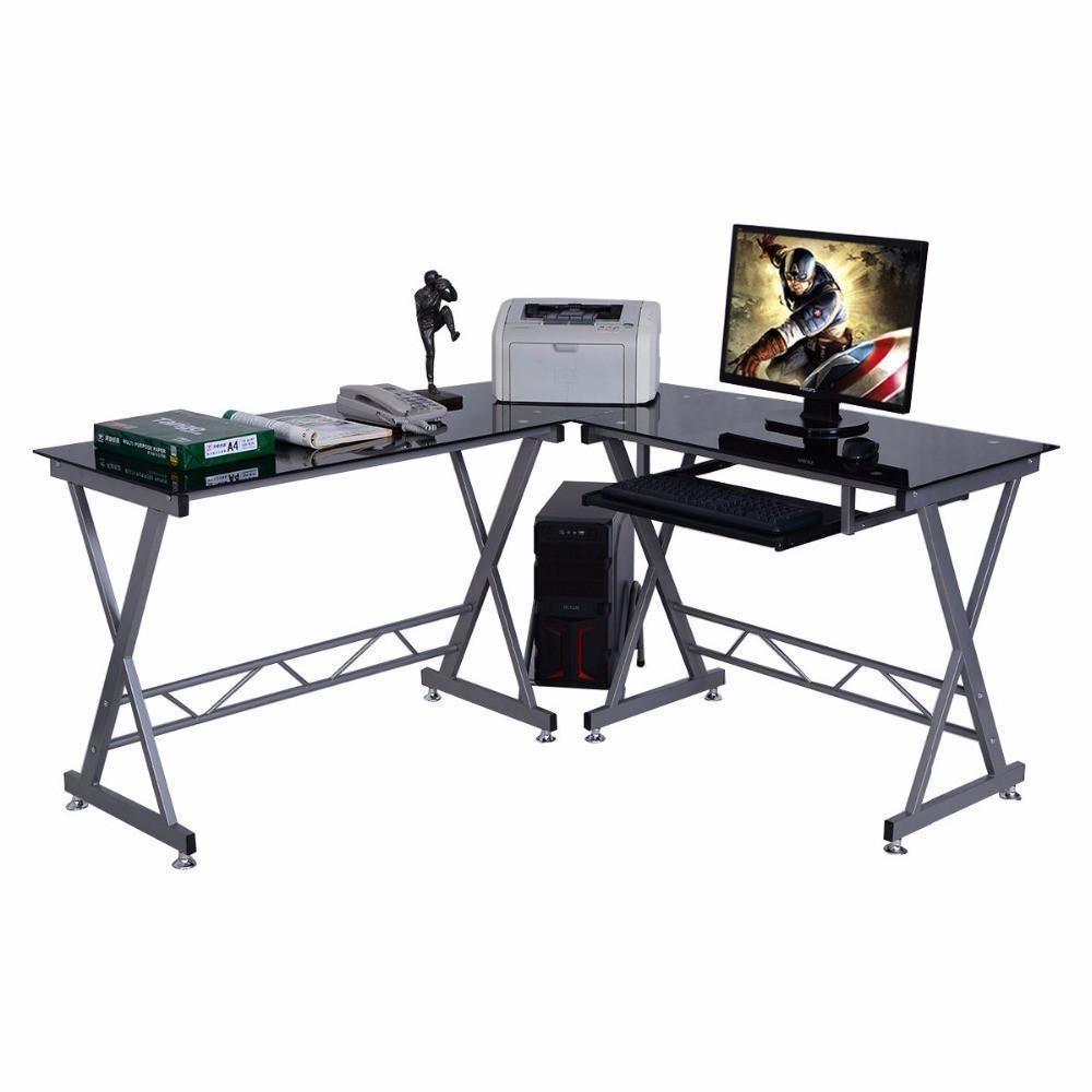 Office folding tables computer desk pc glass top laptop table workstation corner lshape