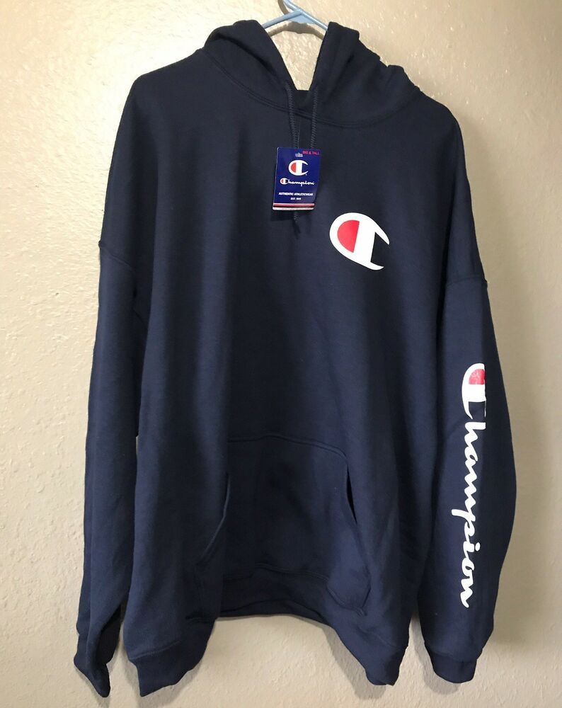 CHAMPION Mens Hoodie Big Logo C Script Hooded Pullover Sweatshirt Blue NWT 3XL