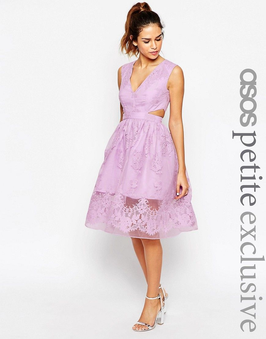 Image 1 of ASOS PETITE Prom Dress With Floral Embroidery And Cutout ...