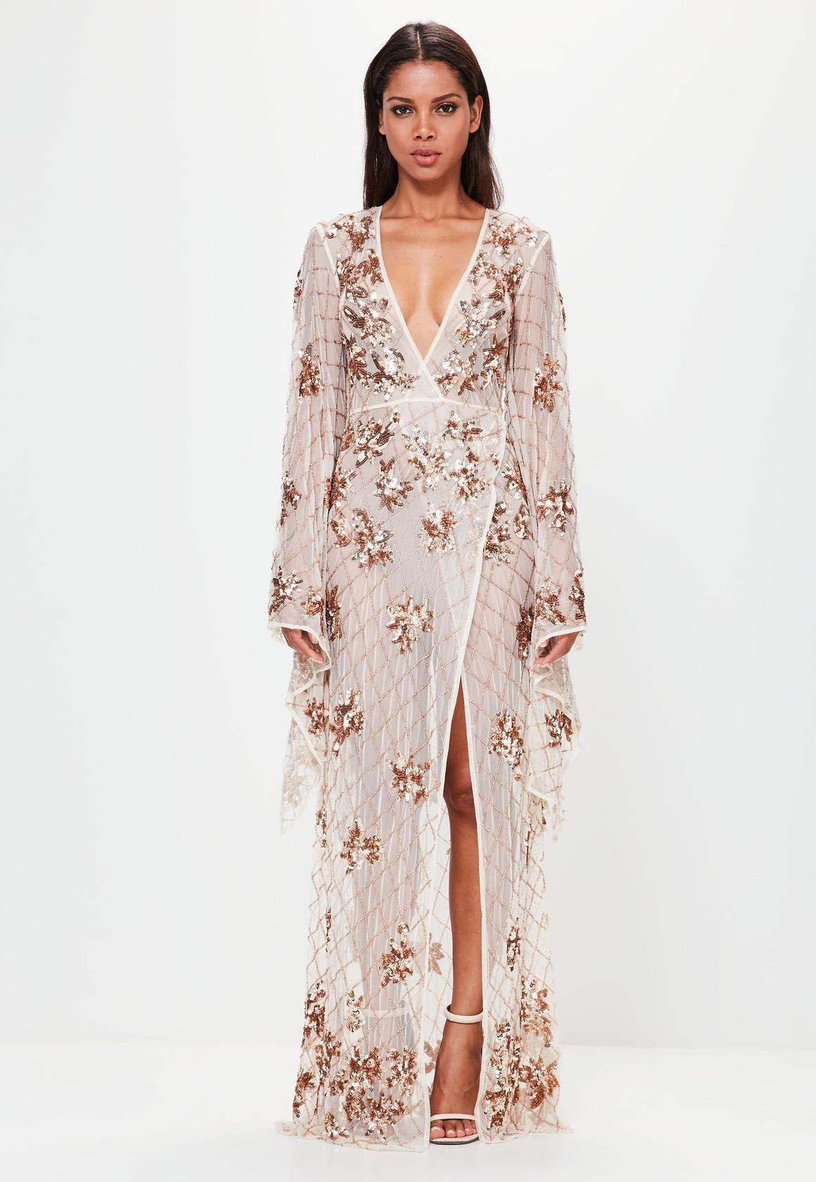 cf278a67611d Missguided - Peace Love Bronze Kimono Sleeve Embellished Maxi Dress
