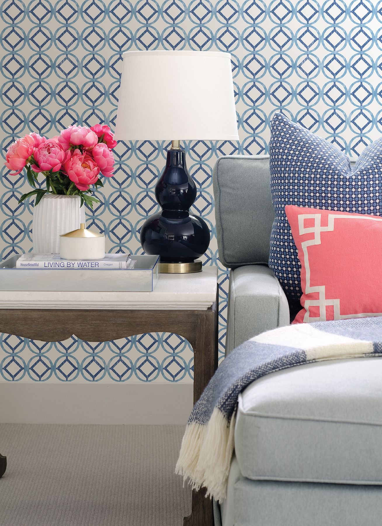 from Catalina Pink geometric wallpaper, Home wallpaper