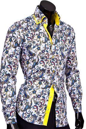 2cecdf6ec9fdfca Купить Разноцветная мужская рубашка с двойным воротником недорого в Москве  Разноцветная мужская рубашка с двойным воротником