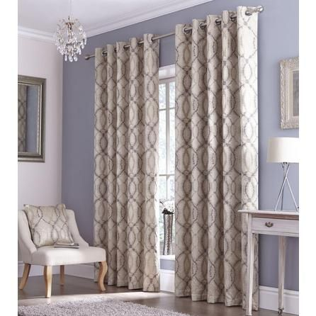 Room Grey Ikat Lined Eyelet Curtains