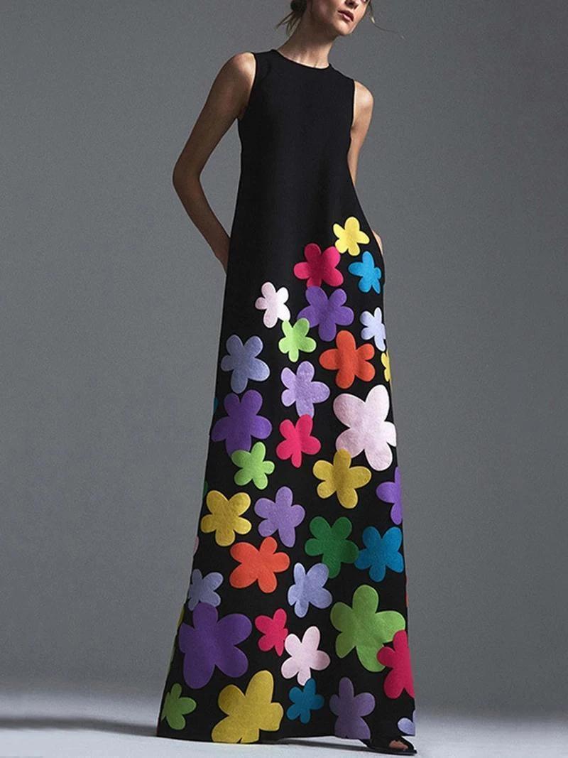 Description Neckline Round Neck Sleeve Length Sleeveless Dress Length Maxi Pattern Type Print Material Maxi Dress Printed Maxi Dress Floral Dress Casual [ 1067 x 800 Pixel ]