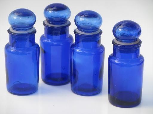 Vintage Cobalt Blue Glass Apothecary Bottles Or Spice Jars Set