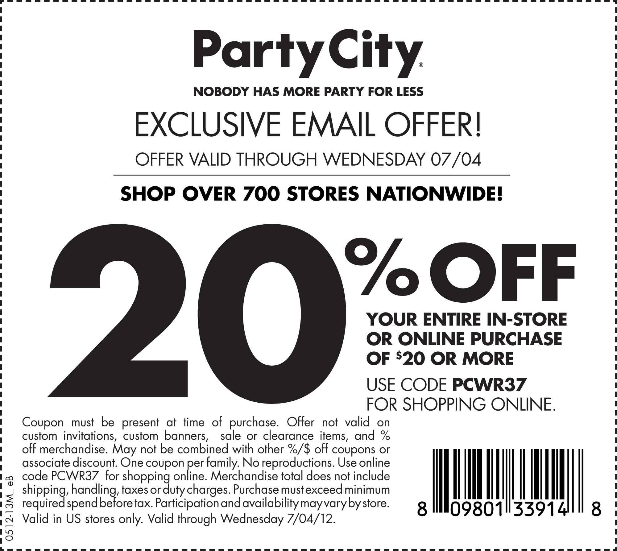 Party City Printable Coupon Seasonal Pinterest