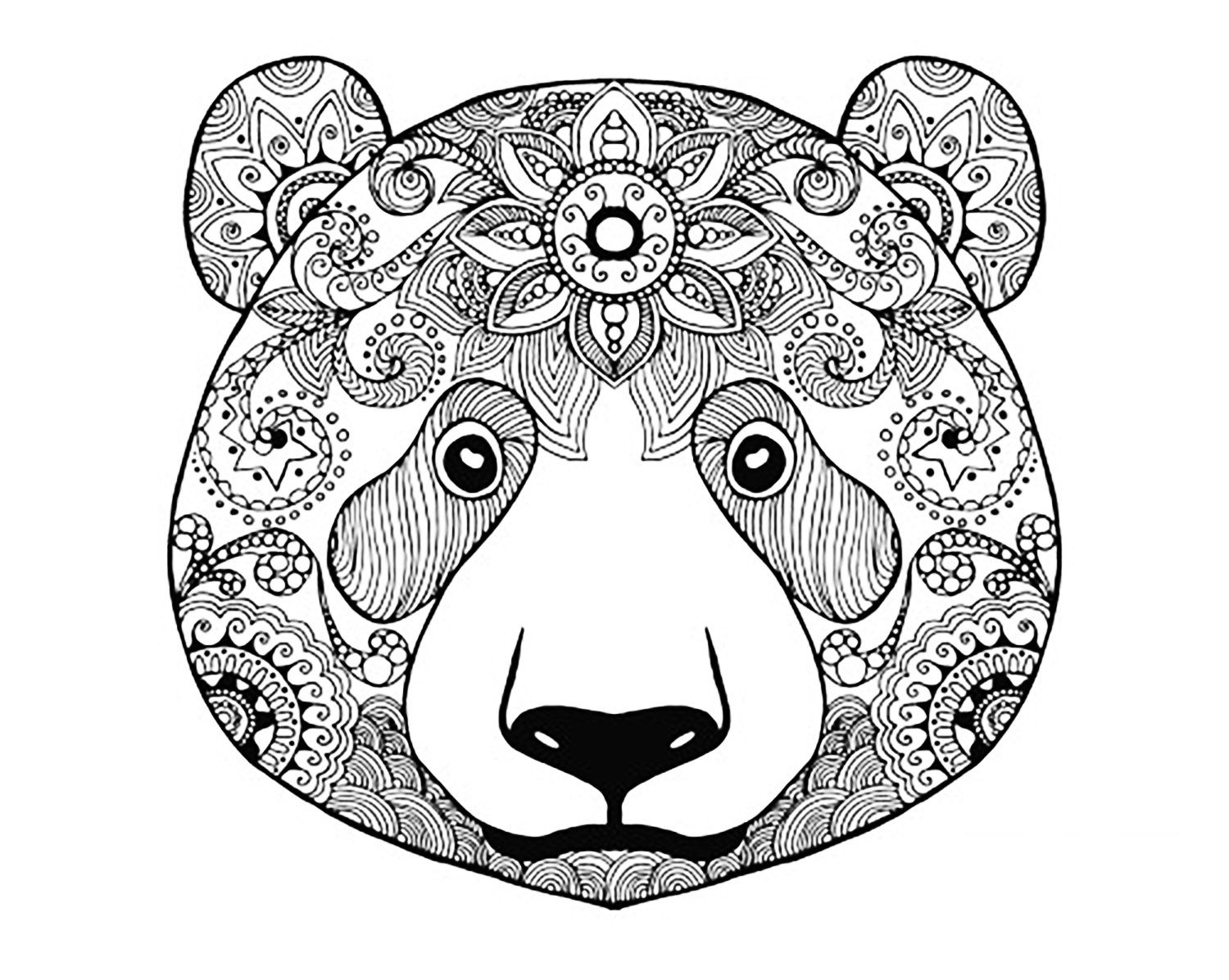 Bear head to print and colorFrom the gallery : Animals ... | mandala coloring pages for adults animals