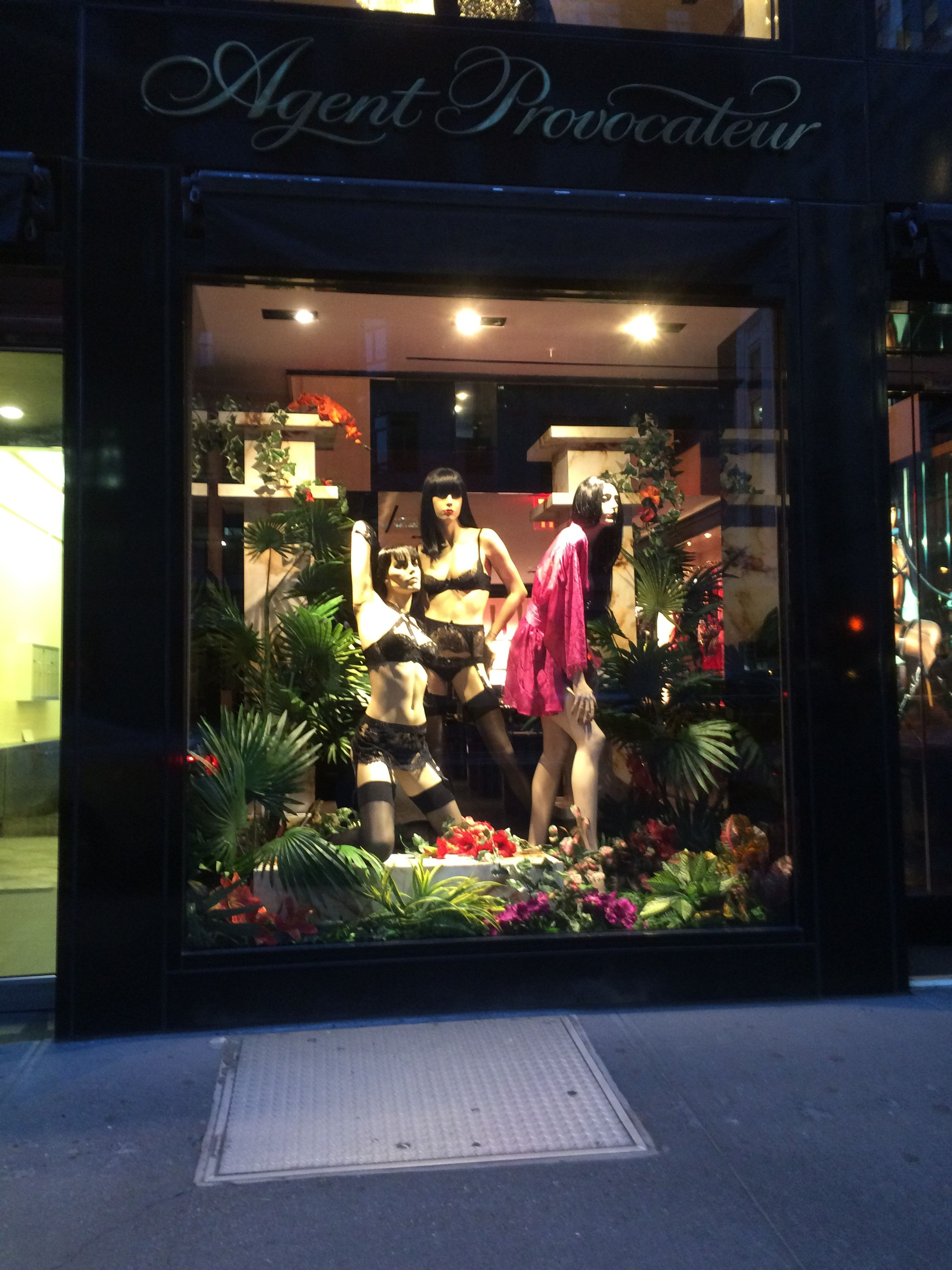d578fe105b Lingerie mannequins in black lingerie and black stockings   Agent  Provocateur in Madison Ave (New York