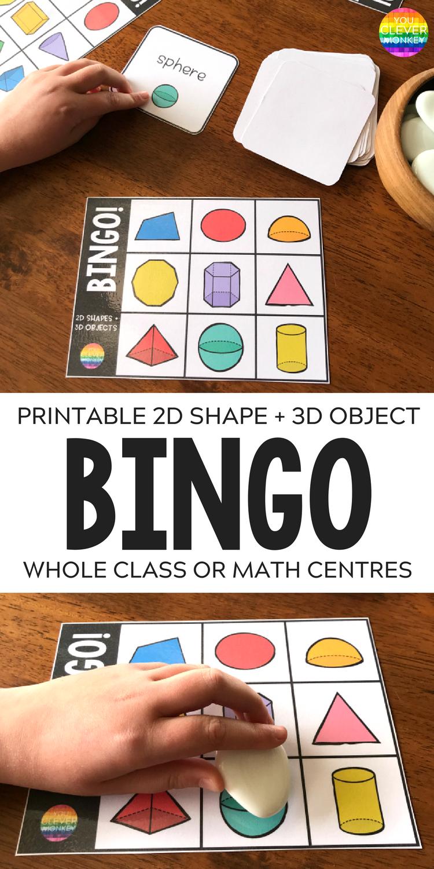 2d Shape 3d Object Bingo Game Matematica Jogos Matematicos Matematicos
